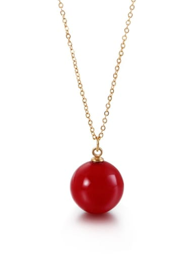 red Stainless Steel Imitation Pearl Multi Color Necklace
