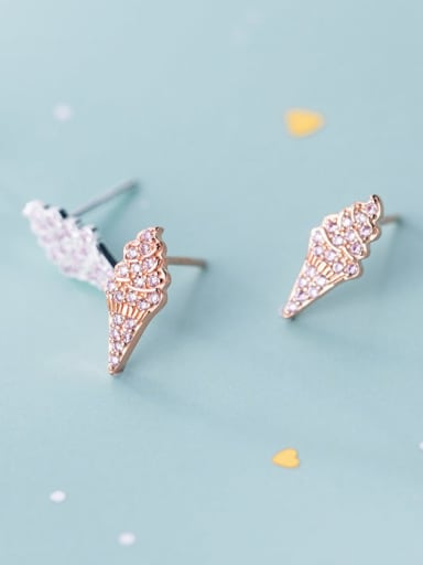 925 Sterling Silver Cubic Zirconia White  Cute  Ice Cream Stud Earring