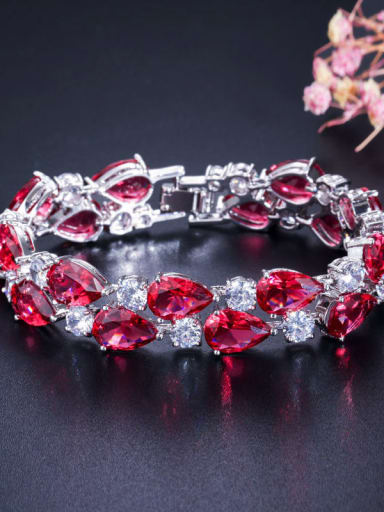 Rose 19cm Copper Cubic Zirconia Geometric Luxury Bracelet