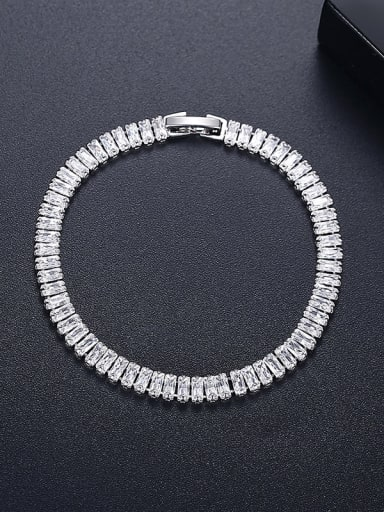 16cm T21A08 Copper Cubic Zirconia Geometric Dainty Link Bracelet