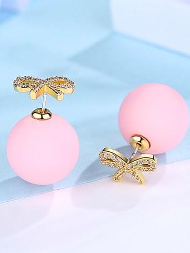18K t04b18 in pink Copper Cubic Zirconia Bowknot Cute Stud Earring