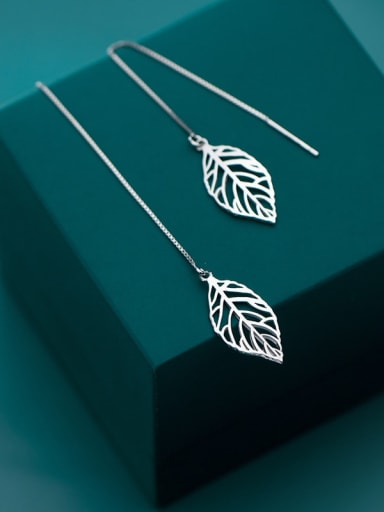925 Sterling Silver Hollow Leaf Minimalist Threader Earring