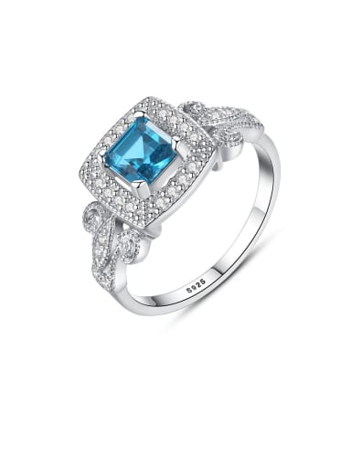 925 Sterling Silver White Cubic Zirconia  Square Classic Band Ring