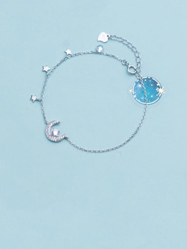 925 Sterling Silver Rhinestone  Minimalist Moon  Star Bracelet