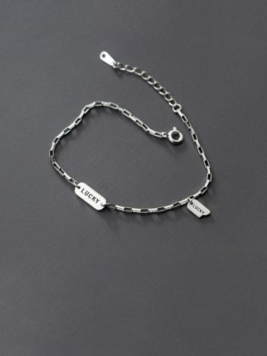 925 Sterling Silver  Vintage Lucky Tag Bracelet Link Bracelet