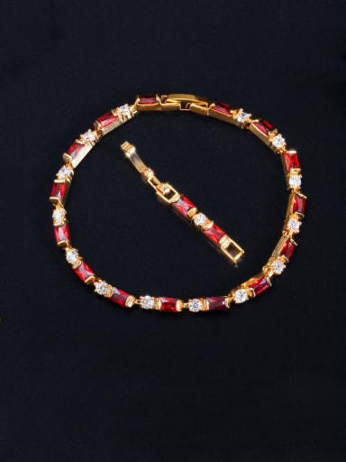 red Copper With Gold Plated Fashion Geometric Bracelets