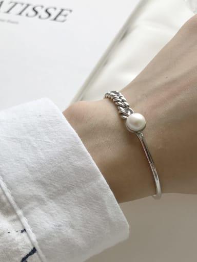 925 Sterling Silver Imitation Pearl Geometric Trend Link Bracelet