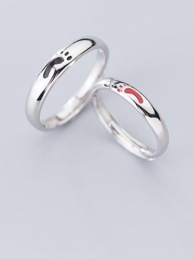 925 Sterling Silver Enamel Minimalist  Footprint Free Size Ring