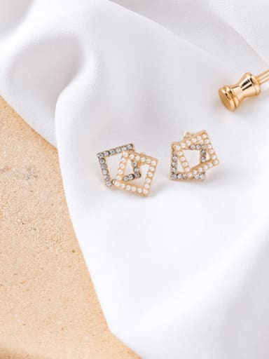 C square section Alloy With Imitation Gold Plated Simplistic Hollow Geometric Stud Earrings