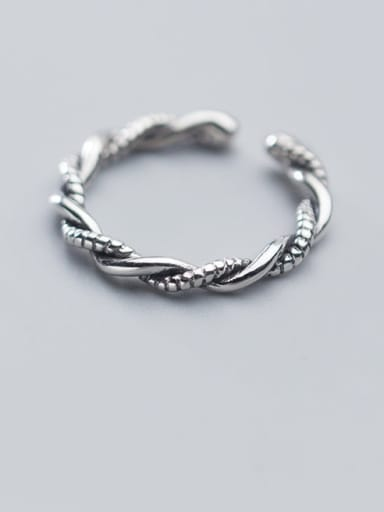 925 Sterling Silver  Vintage Simple Twisted rope Free Size Ring