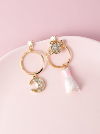 Alloy With Gold Plated Fashion Moon Drop Earrings