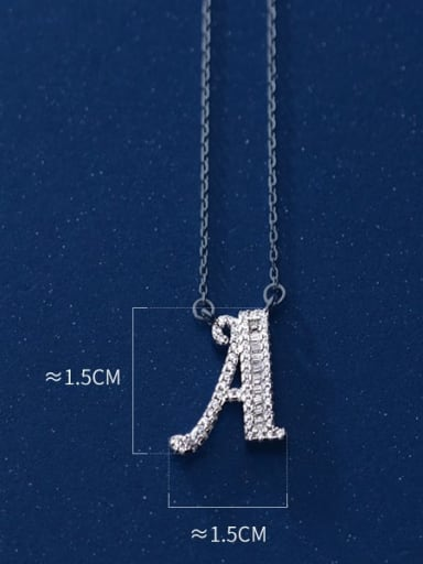 925 Sterling Silver Simple Fashion full diamond letters pendant  Necklace