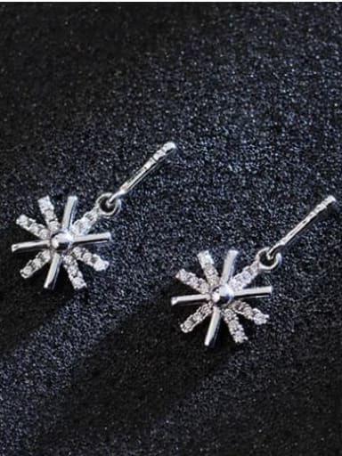925 Sterling Silver Cubic Zirconia Flower Minimalist Drop Earring