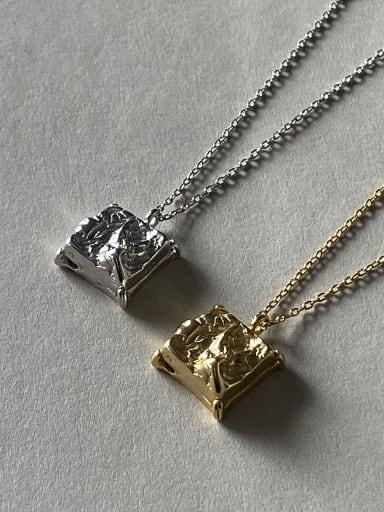 925 Sterling Silver Retro square irregular pendant  Necklace