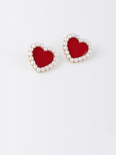 B red Zinc Alloy Imitation Pearl White Heart Minimalist Stud Earrings