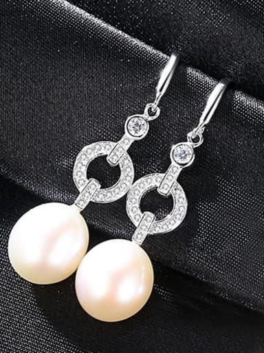 White 1A01 925 Sterling Silver Freshwater Pearl Hollow Geometric Classic Hook Earring