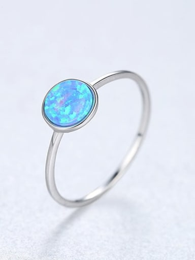 Blue 22d05 925 Sterling Silver Round Minimalist Band Ring