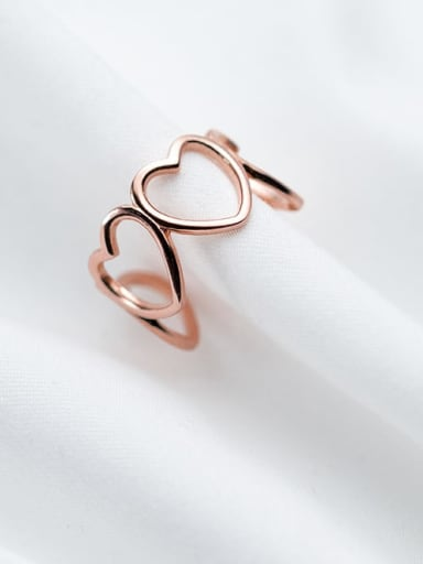 925 Sterling Silver Minimalist Hollow Heart  Free Size Ring