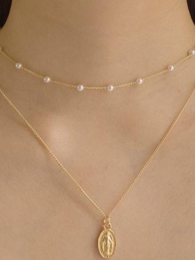 Copper Imitation Pearl Geometric Minimalist Multi Strand Necklace