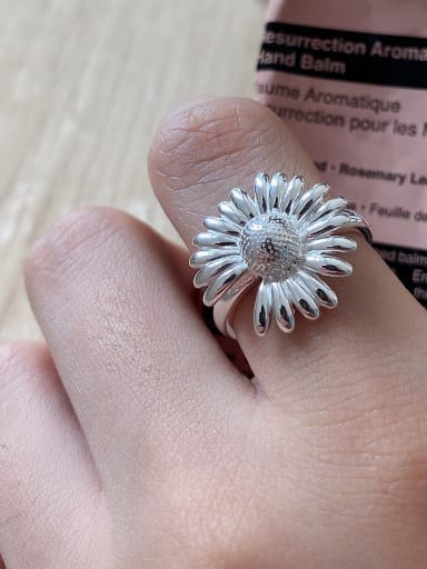 925 Sterling Silver Flower Daisy Vintage Free Size Band Ring
