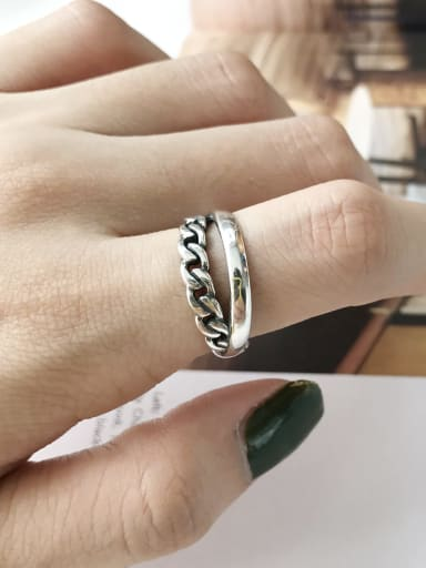 S925 Sterling Silver  chain making old personalized opening ring