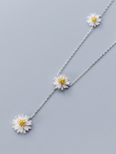 925 Sterling Silver Flower Minimalist Long Strand Necklace