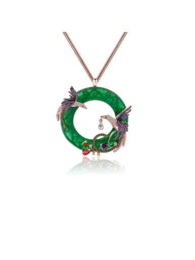 Copper Cubic Zirconia  Ethnic Popular vintage Phoenix pendant  Necklace