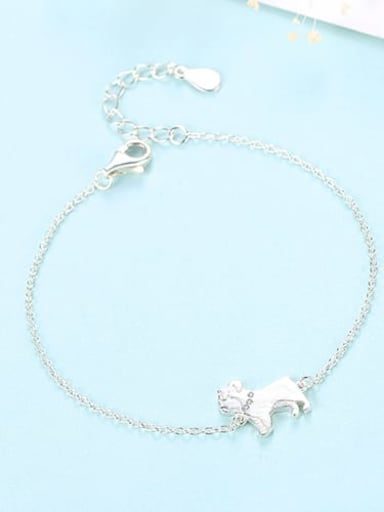 Platinum 12B06 925 sterling silver simple cute Dog Bracelet