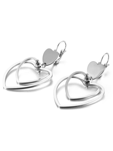 platinum Stainless Steel Hollow  Heart Minimalist Hook Earring
