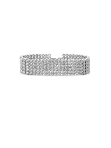 Copper Cubic Zirconia Geometric Luxury Strand Bracelet