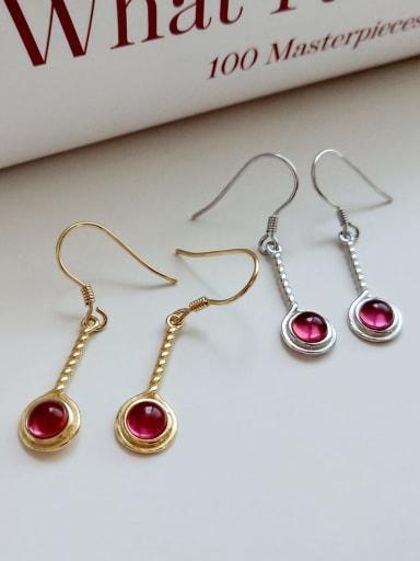 925 Sterling Silver Glass Bead Red Twisted Tassel Vintage Hook Earring