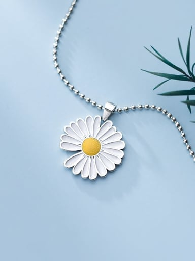 925 Sterling Silver Bead Chain Silicone Flower Necklace