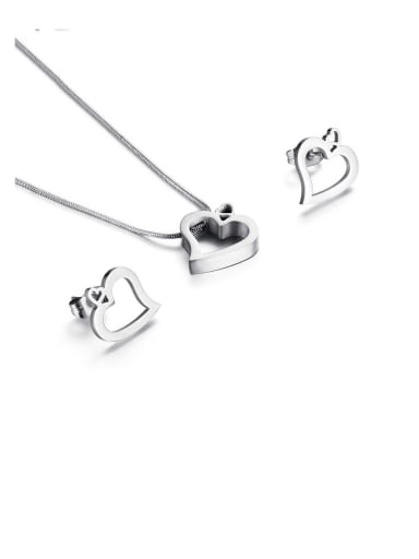 Titanium Minimalist Hollow  Heart Titanium Earring And Necklace Set