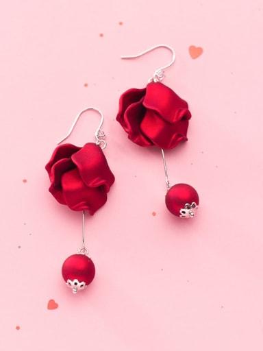 925 Sterling Silver Red Enamel Flower Minimalist Hook Earring