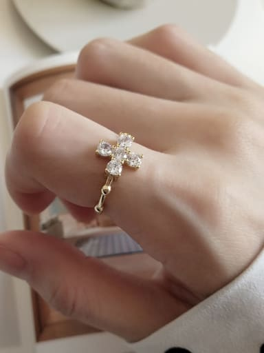 925 Sterling Silver Cross Minimalist Free Size Midi Ring