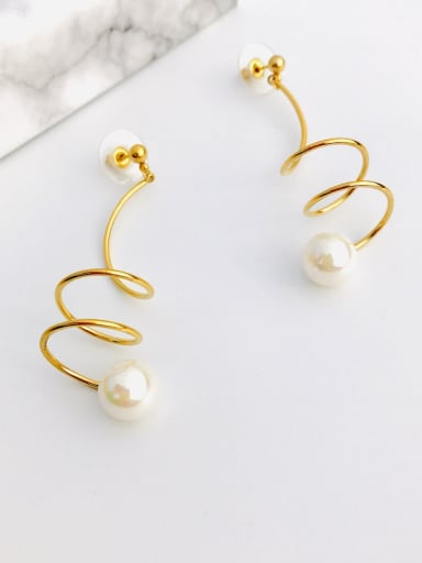 Copper Imitation Pearl White Irregular Minimalist Chandelier Earring
