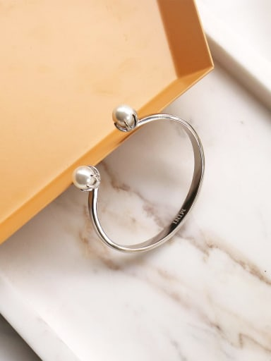 925 Sterling Silver Imitation Pearl White Round Trend Cuff Bangle