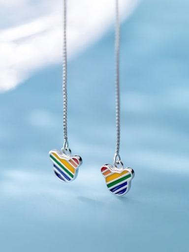925 Sterling Silver Multi Color Enamel Geometric Minimalist Threader Earring
