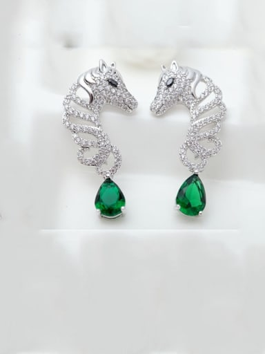Main stone green platinum plated t08b16 Copper Cubic Zirconia Leopard Ethnic Drop Earring
