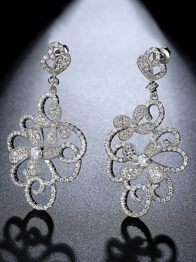 White zirconium platinum t09c20 Copper Cubic Zirconia Flower Luxury Chandelier Earring