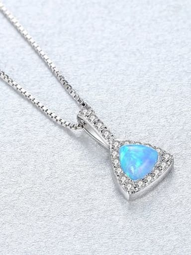 Blue 20E04 925 sterling silver simple triangle Opal Pendant Necklace