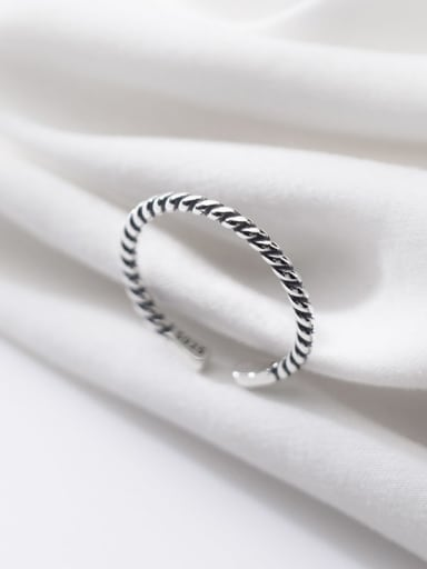 925 Sterling Silver Irregular Vintage  Retro twisted rope Band Ring