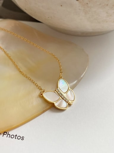 925 Sterling Silver Shell Butterfly Vintage Necklace