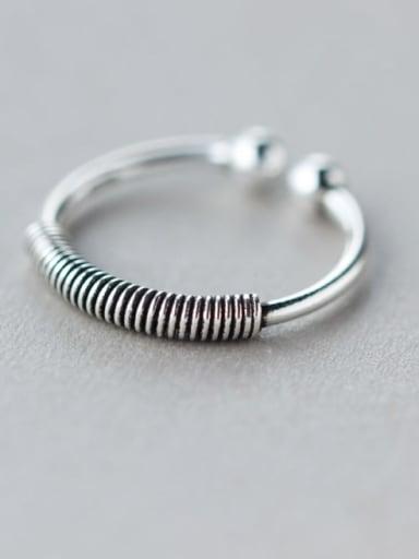 925 Sterling Silver Irregular Vintage Screw Thread Free Size  Ring