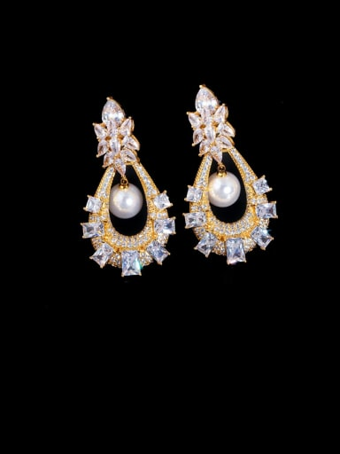 gold Copper With Cubic Zirconia  Luxury Hollow Water Drop Cluster Earrings