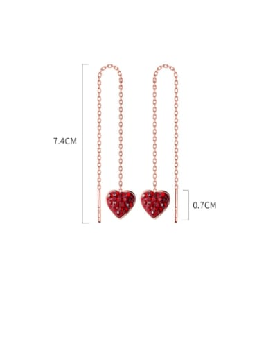 925 Sterling Silver Rhinestone Red Heart Minimalist Threader Earring
