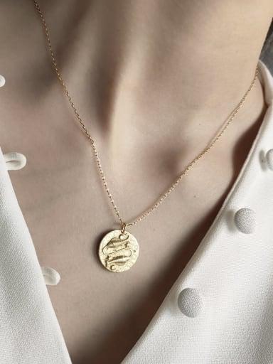 925 Sterling Silver  Retro Poisson Pendant (45cm Cross Chain) Necklace