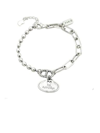 Vintage Sterling Silver With Platinum Plated Fashion Oval Bracelets