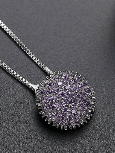 Purple t10b26 Copper Cubic Zirconia Retro round flower pendant  Necklace