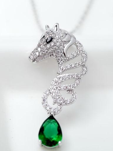 Main stone green platinum plated t11e04 Copper Cubic Zirconia  Cute Leopard Pendant Necklace